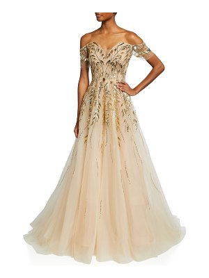 Pamella Roland Sequin-Embellished Off-The-Shoulder Tulle Gown