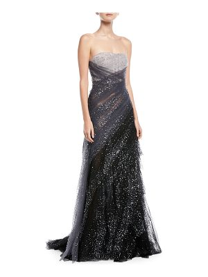 Pamella Roland Sequin Embroidered Hand Draped Tulle Evening Gown