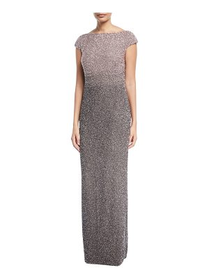 Pamella Roland Signature Ombre Sequined Cowl-Back Evening Gown