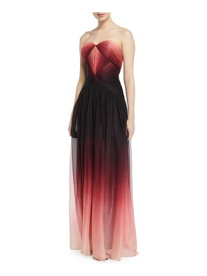 Pamella Roland Strapless Sweetheart Ombre Chiffon Gown