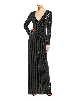 Pamella Roland Studded Sequined Gown