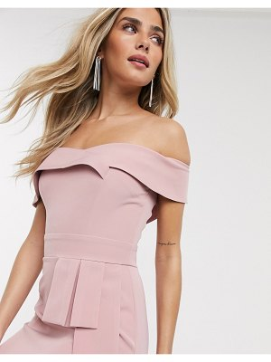 Paper Dolls bandeau wiggle dress with obi detail in blush-pink