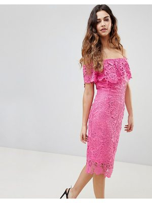 Paper Dolls bardot lace pencil dress with frill detail