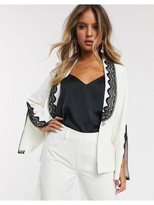 Paper Dolls blazer with lace and split detail two-piece in ivory-white