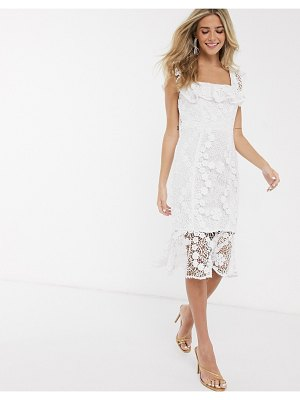 Paper Dolls lace pencil dress with ruffle square neck in white