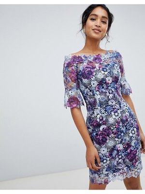 Paper Dolls off shoulder crochet midi dress with frill sleeve in printed lace-multi
