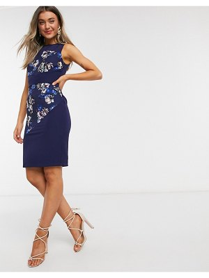 Paper Dolls paneled pencil dress in navy floral