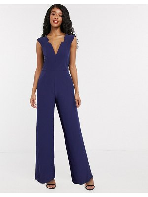 Paper Dolls plunge jumpsuit with notch detail in navy