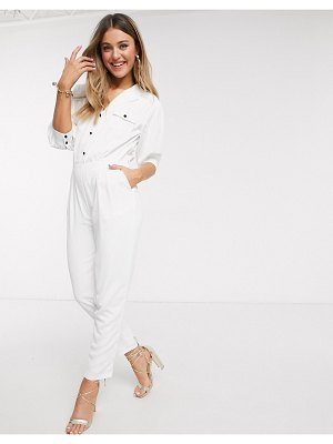 Paper Dolls utility jumpsuit in ivory-white