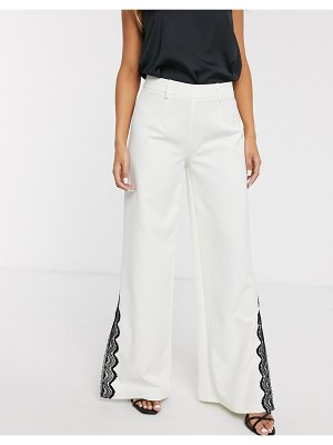 Paper Dolls wide leg pants with lace split detail two-piece in ivory-white