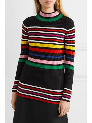 PAPER London striped ribbed wool turtleneck sweater