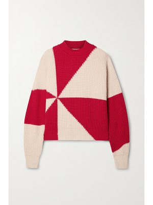 Paradis Perdus + net sustain jules two-tone recycled ribbed-knit sweater