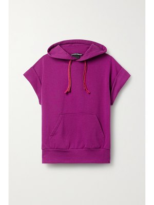 Paradis Perdus + net sustain macha recycled cotton-blend jersey hoodie