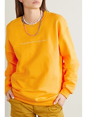 Paradised sun in eyes embroidered cotton-blend jersey sweatshirt