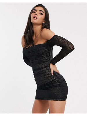 Parallel Lines bardot bodycon dress in ruched leopard print mesh-black