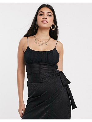 Parallel Lines cami crop top in ruched mesh-black