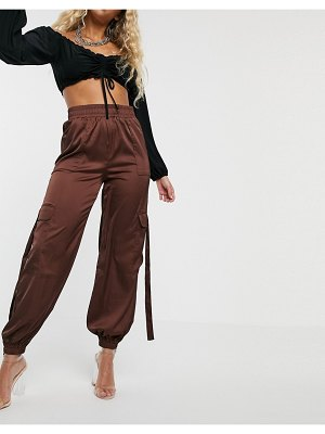 Parallel Lines high waisted cargo pants with utility detail-brown