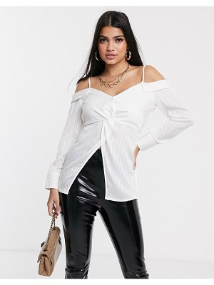 Parallel Lines off shoulder blouse in white stripe