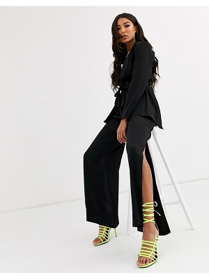 Parallel Lines oversized wrap blazer with belt detail two-piece-black