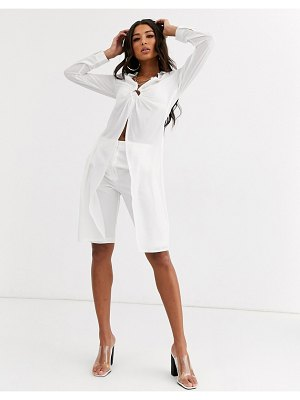 Parallel Lines sheer shirt with split front and ring detail-white