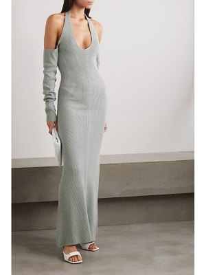Paris Georgia open-back cold-shoulder ribbed cotton maxi dress