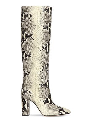 Paris Texas 100mm tall snake embossed leather boots