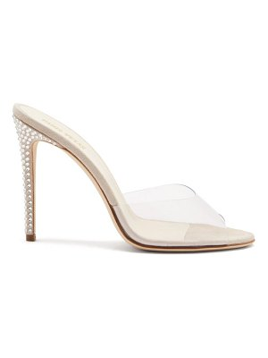 Paris Texas crystal-embellished pvc-strap suede mules