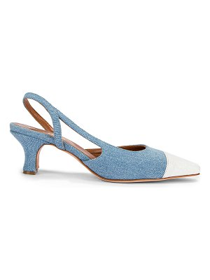 Paris Texas denim and moc croco slingback