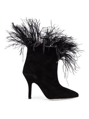 Paris Texas for fwrd suede stiletto ankle boot with marabou feathers