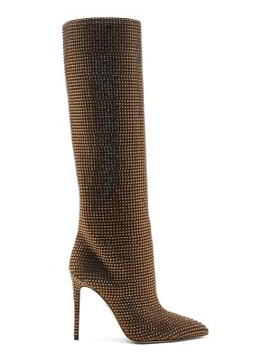 Paris Texas holly crystal-embellished suede knee-high boots