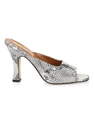 Paris Texas lamé python-embossed leather mules