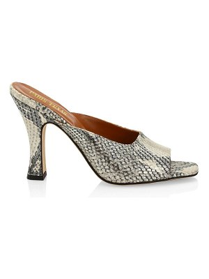 Paris Texas lamé python-print leather square toe mules