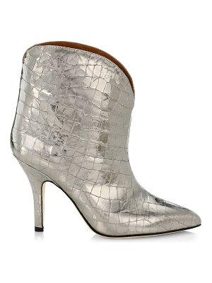 Paris Texas metallic coconut croc-embossed leather ankle boots