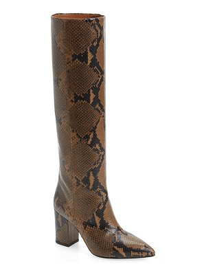 Paris Texas python embossed knee high boots