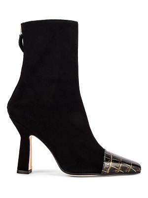 Paris Texas suede and croco square toe ankle boot