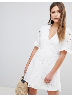 Parisian Broderies Skater Dress With Frill Sleeve