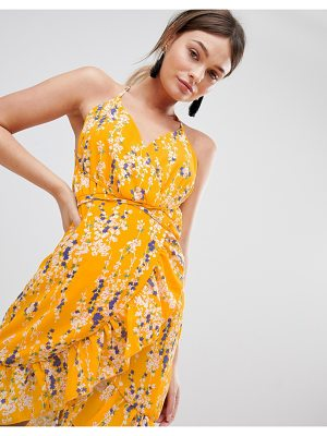 Parisian Floral Wrap Cami Dress With Frill