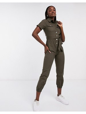 Parisian relaxed utility jumpsuit in khaki-green