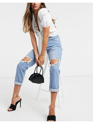 Parisian ripped knee mom jeans in blue