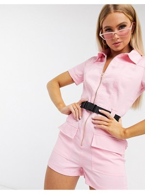 Parisian utility belted romper in pink