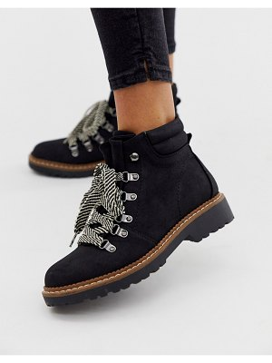 Park Lane flat boots with contrast laces-black
