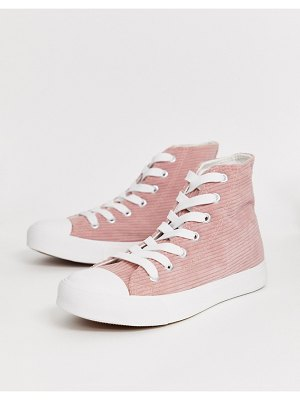 Park Lane hi top lace up sneakers in pink cord