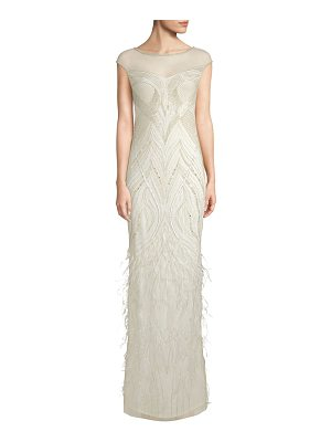 Parker Black allie beaded feather gown