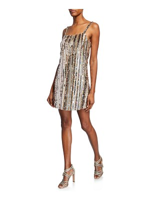 Parker Black Nava Sequin-Stripe Sleeveless Mini Shift Dress