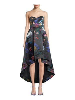 Parker Black Roxanne Strapless High-Low Floral Satin Dress