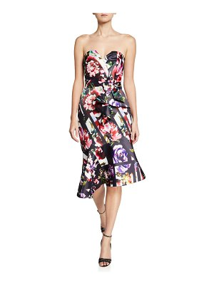 Parker Black Wendy Floral-Print Strapless Asymmetric Satin Dress