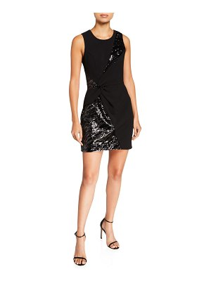 Parker Black Winslet Tiger Sequin Mini Crepe Combo Dress