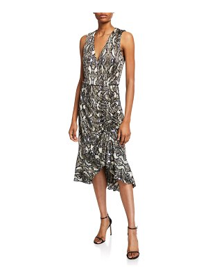 Parker Briony Python-Print Ruched Ruffle Dress