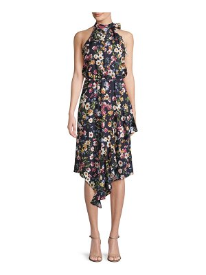 Parker Floral High-Neck Halter Dress