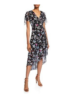 Parker Lizzy Draped Floral High-Low Dress
